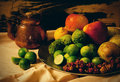 Still life of fruits and copper kettle Royalty Free Stock Photo