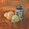 Still life with fruits and mug oil painting two pears a metal on a table Royalty Free Stock Images
