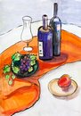 Still life with glass bottles