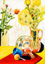 Still-life glass flower pot painting Royalty Free Stock Photo