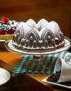 Still Life of Gourmet Chocolate Cake, Fruit Tart, and Coffee