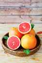 Still life with grapefruit on a tray Royalty Free Stock Images