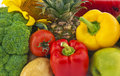 Still life the group of fruits and vegetables closeup view Royalty Free Stock Photography