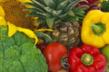 Still life the group of fruits and vegetables closeup view Stock Images