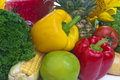 Still life the group of fruits and vegetables closeup view Stock Photos