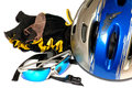 Still life with helmet and  sunglasses Stock Photo