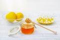 Still life with honey and lemons Royalty Free Stock Photo