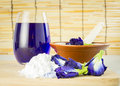 Still life ingredient for cooking with asian pigeonwings flower in kitchen Royalty Free Stock Photo