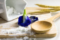 Still life ingredient for cooking with asian pigeonwings flower in kitchen Royalty Free Stock Photos