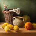 Still life with lemons and oranges on a wooden table Royalty Free Stock Photos