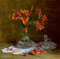 Still life with lillies and sweet cherry looking like a painting Royalty Free Stock Photography