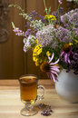 Still life from medicinal herbs herbal tea on a wooden background Royalty Free Stock Image