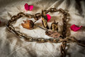 Still life metaphorical roses on valentine s day Royalty Free Stock Photos
