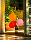 Still life with moet and chandon bottle rishon le zion israel december brut imperial three colored balloons morning light the Stock Images