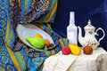 Still life objects in painting school class with vase fruits textile canvas Stock Photo