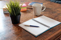 Still life of office supplies  on wooden table Royalty Free Stock Photo
