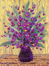 Still life oil bouquet of purple flowers charming magnificent fragrant in a dark vase Stock Photos