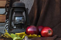 Still life an oil lamp and red apple against a brown drapery Royalty Free Stock Photo