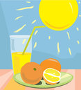 Still life with orange juice, sun and oranges Stock Images