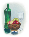 Still life painting with fruit bowl wine glass and green bottle hand painted oil pastel traditional of bright red colorful apples Royalty Free Stock Image