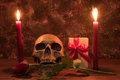 Still life painting photography with human skull, present, rose Royalty Free Stock Photo