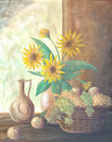 Still life painting with sunflowers and fruits on Stock Images