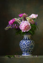Still life with peonies in a chinese vase Royalty Free Stock Images