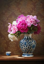 Still life with peonies in a chinese vase Royalty Free Stock Photo