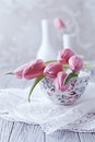 Still life with pink tulips on a tea cup spring vintage Royalty Free Stock Images