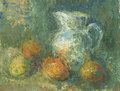 Still life with pitcher and fruit drawn oil colour Stock Photo