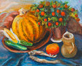 Still life with pumpkin on dark blue cloth Royalty Free Stock Photography