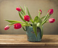 Still life with red tulip flower bouquet Royalty Free Stock Photo