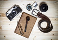 Still life with retro object on wood table. Royalty Free Stock Photo