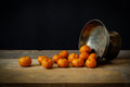 Still life with ripe oranges on wooden table Royalty Free Stock Photo