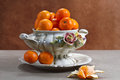 Still life with ripe tangerines Stock Photos