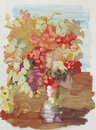 Still life rowan drawing color bouquet of mountain ash paints on paper Royalty Free Stock Photography