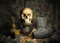 Still life with a skull Stock Photo
