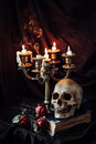 Still life with skull, book and candlestick Royalty Free Stock Photo
