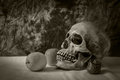 Still life with skull man with apples