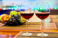 Still Life stemware of wine and fresh fruit Royalty Free Stock Photo