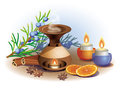 Still life on the subject of aromatherapy with orange and cinnam Royalty Free Stock Photo
