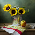 Still life with sunflowers and apple Royalty Free Stock Photo