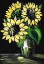 Still life with sunflowers on a black background. Hand painted on a paper illustration Royalty Free Stock Photo