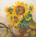 Still life with sunflowers oil painting illustrating in ceramic vase Stock Image