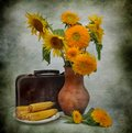 Still life with sunflowers and old suitcase Stock Photography