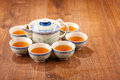 Still life of tea crockery a good cup closeup image traditional set on wooden table Stock Images