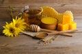 Still life of tea, honey, wax, and pollen granule Royalty Free Stock Photo