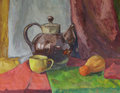 Still life with teapot painting gouache on paper Stock Photos