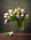 Still life with tulips colorful Stock Image