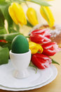 Still life with tulips passover holiday eggs flowers and cake Stock Photography